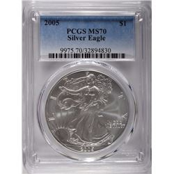2005 AMERICAN SILVER EAGLE, PCGS MS-70 BETTER DATE