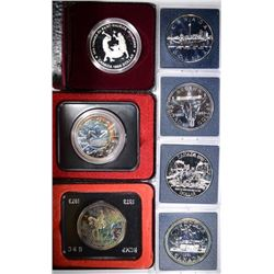 7 - DIFF. CANADIAN 50% SILVER DOLLARS