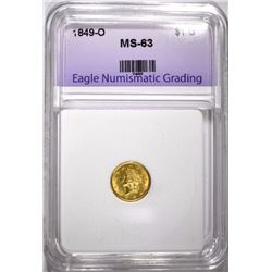 1849-O $1.00 GOLD, ENG CHOICE BU