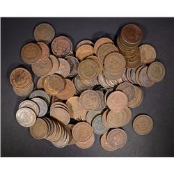 100 MIXED DATE CIRCURLATED INDIAN HEAD CENTS