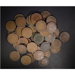 50- MIXED DATE CANADIAN LARGE CENTS, CIRCS