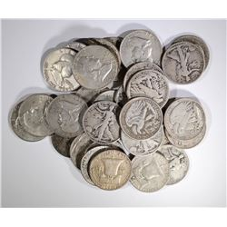 $15.00 FACE VALUE 90% SILVER MIXED HALF DOLLARS