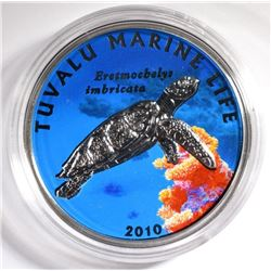 2010 $1 Silver Proof Coin TUVALU MARINE LIFE