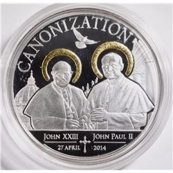 CANONIZATION OF THE POPES Gilded Silver Coin