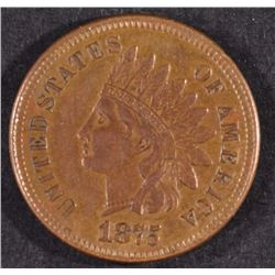 1875 INDIAN HEAD CENT, XF/AU -NICE!