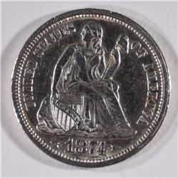 1874 ARROWS SEATED LIBERTY DIME, UNC -WHITE
