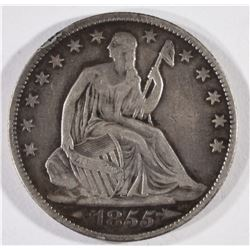 1855-O ARROWS SEATED LIBERT HALF DOLLAR, VF/XF
