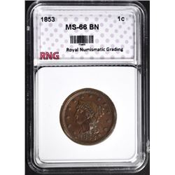 1853 LARGE CENT GRADED RNG SUPERB GEM BROWN