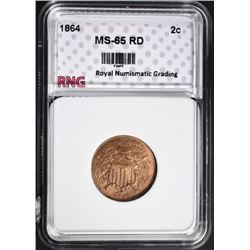 1864 2 CENT PIECE RNG GEM BU RED