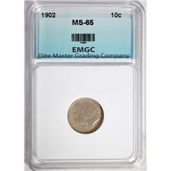 1902 BARBER DIME GRADED EMGC GEM UNC