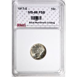 1917-S MERCURY DIME RNG SUPERB GEM FSB