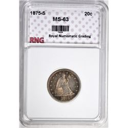 1875-S TWENTY CENT GRADED RNG CH BU