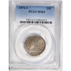 1876-S SEATED LIBERTY QUARTER PCGS MS63