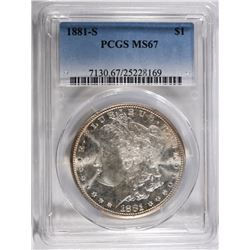 1881-S MORGAN SILVER DOLLAR PCGS MS67  BLAST WHITE
