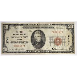 1929 $20 NATIONAL FNB MICHIGAN CITY