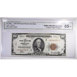 1929 $100 FEDERAL RESERVE BANK NOTE CGA 65-OPQ