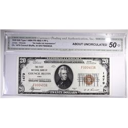1929 $20 NATIONAL CURRENCY TY1 CGA 50