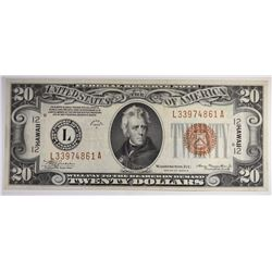 1934A $20 FEDERAL RESERVE NOTE HAWAII XF