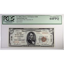 1929 $5 NATIONAL CURRENCY TY2 PCGS 64PPQ