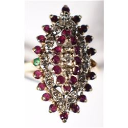 7.1 GMS 14KT GOLD RING W/DIAMONDS, RUBIES &