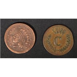 2 DIFFERENT CIVIL WAR TOKENS