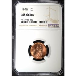 1948 LINCOLN CENT, NGC MS-66 RED