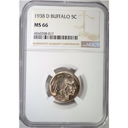 1938-D BUFFALO NICKEL, NGC MS-66
