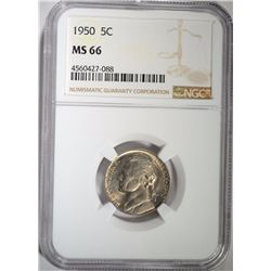 1950 JEFFERSON NICKEL, NGC MS-66