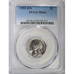 1955-D/S JEFFERSON NICKEL, PCGS MS-64