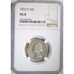 1932-D WASHINGTON QUARTER, NGC VG-8