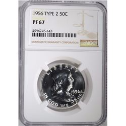 1956 TYPE-2 FRANKLIN HALF DOLLAR, NGC PF-67
