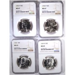 4-NGC GRADED FRANKLIN HALF DOLLARS