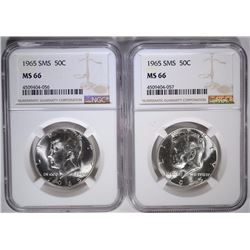 2-1965 SMS KENNEDY HALF DOLLARS, NGC MS-66
