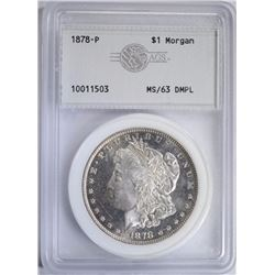 1878 7TF MORGAN DOLLAR, AGS CH BU DMPL