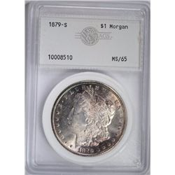 1879-S MORGAN DOLLAR, AGS GEM BU