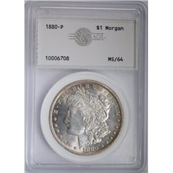 1880 MORGAN DOLLAR, AGS CH/GEM BU