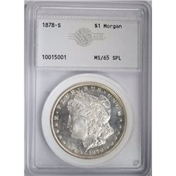 1878-S MORGAN DOLLAR, AGS GEM BU SPL