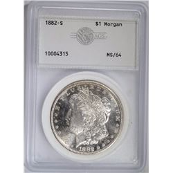 1882-S MORGAN DOLLAR, AGS CH/GEM BU
