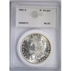 1902-O MORGAN DOLLAR, AGS GEM BU