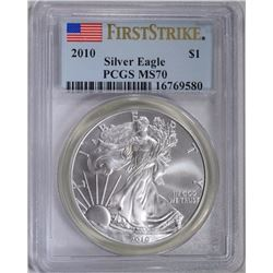 2010 AMERICAN SILVER EAGLE, PCGS MS-70 1st STRIKE