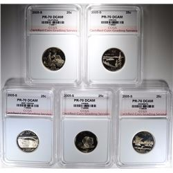 2005-S STATE QUARTER SET (5 COINS) ALL CCGS GRADED