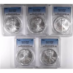 5-2006 AMERICAN SILVER EAGLES, PCGS MS-69