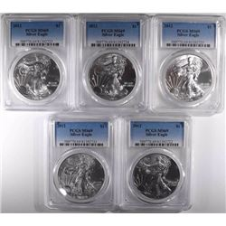 5-2012 AMERICAN SILVER EAGLES, PCGS MS-69