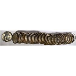 BU ROLL OF 1945-S JEFFERSON NICKELS