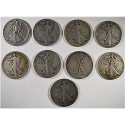 "9-""S"" MINT WALKING LIBERTY HALF DOLLARS, AVE CIR"