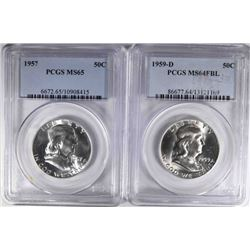 2-PCGS GRADED FRANKLIN HALF DOLLARS