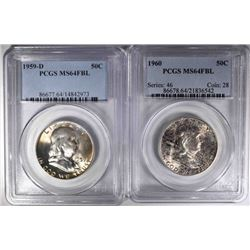 1959-D & 60 FRANKLIN HALF DOLLARS, PCGS MS-64 FBL