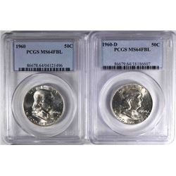 1960 & 60-D FRANKLIN HALF DOLLARS, PCGS MS-64 FBL