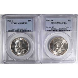 1960-D & 61-D FRANKLIN HALF DOLLARS, PCGS MS-64FBL