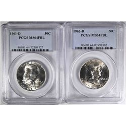 1961-D, 62-D FRANKLIN HALF DOLLARS, PCGS MS-64 FBL